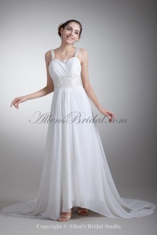 Chiffon Straps Neckline Sweep Train Column Embroidered Wedding Dress