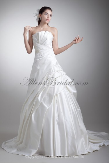 Satin Scallop Neckline Chapel Train Ball Gown Embroidered Wedding Dress