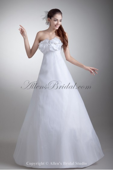 Organza and Satin Strapless Neckline Floor Length A-line Hand-made Flowers Wedding Dress