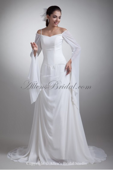 Chiffon Spaghetti Neckline Chapel Train A-Line Wedding Dress