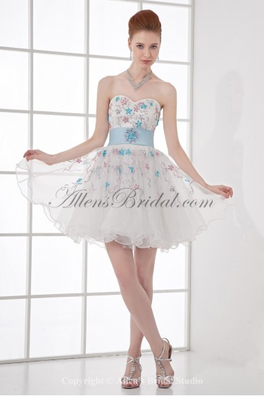 Organza Sweetheart A-Line Short Embroidered Cocktail Dress