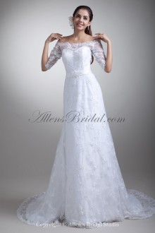 Lacee Off-the-Shoulder Neckline Sweep Train Column Half-Sleeves Wedding Dress