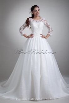 Organza Scoop Neckline Sweep Train A-line Three-quarter Sleeves Wedding Dress with Jacket