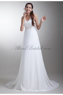 Chiffon Straps Neckline Sweep Train A-line Embroidered Wedding Dress