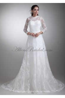 Satin and Lace Jewel Neckline Sweep Train A-line Three-quarter Sleeves Wedding Dress