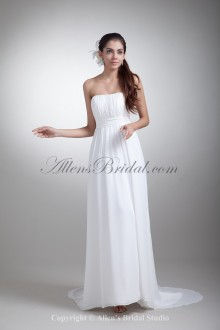 Chiffon Strapless Neckline Sweep Train Column Wedding Dress