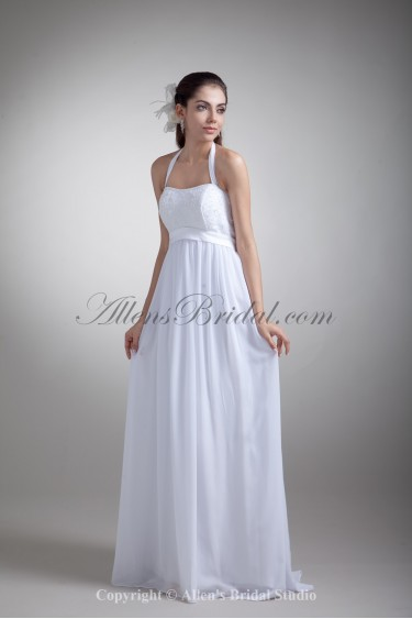 Chiffon Halter Neckline Floor Length Empire Wedding Dress with Embroidered