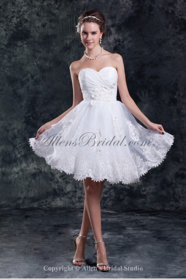 Organza Sweetheart Neckline Knee Length A-Line Embroidered Short Wedding Dress