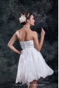 Organza Sweetheart Neckline Knee Length Sheath Embroidered Short Wedding Dress