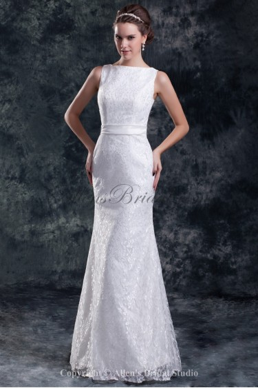 Lace Bateau Neckline Floor Length Sheath Embroidered Wedding Dress