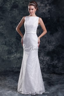 Lace Straps Neckline Floor Length Sheath Embroidered Wedding Dress