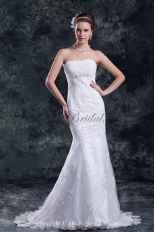 Satin and Net Strapless Neckline Sweep Train Sheath Embroidered Wedding Dress