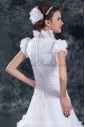 Organza Square Neckline Sweep Train A-line Cap Sleeve Wedding Dress