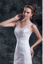 Lace Straps Neckline Sweep Train A-line Wedding Dress