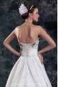 Satin Sweetheart Neckline Sweep Train A-line Embroidered Wedding Dress