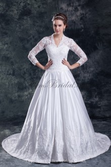 Satin Sweetheart Neckline Sweep Train A-line Embroidered Wedding Dress with Jacket