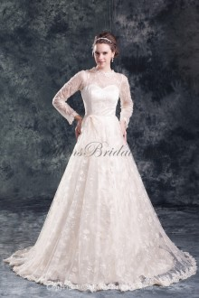 Lace Jewel Neckline Sweep Train A-line Three-quarter Sleeves Wedding Dress