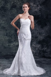 Lace Sweetheart Neckline Sweep Train Sheath Embroidered Wedding Dress