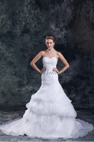 Organza Sweetheart Neckline Chapel Train Mermaid Embroidered Wedding Dress