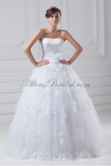 Organza and Satin Strapless Neckline Floor Length Ball Gown Wedding Dress