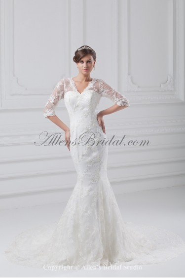 Lace V-Neck Neckline Chapel Train Mermaid Half-Sleeves Wedding Dress