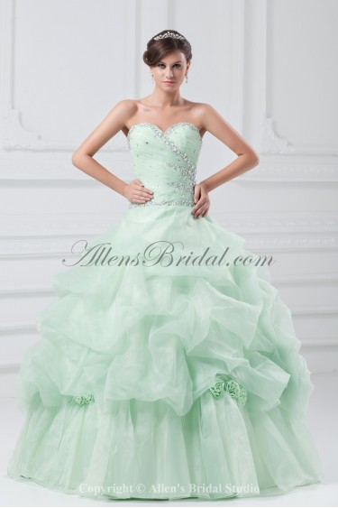 Organza Sweetheart Neckline Floor Length Ball Gown Crystals Prom Dress