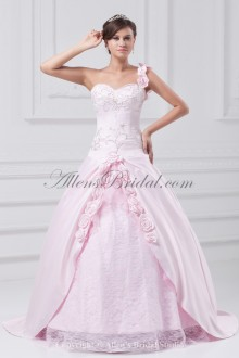 Satin Sweetheart Neckline Floor Length Ball Gown Embroidered Prom Dress
