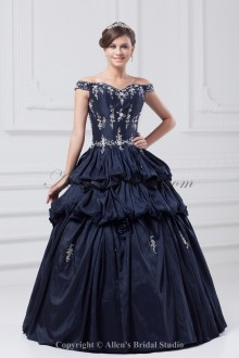 Taffeta Off-the-Shoulder Neckline Floor Length Ball Gown Embroidered Prom Dress