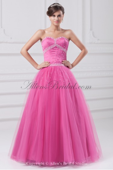Satin and Tulle Sweetheart Neckline Floor Length Ball Gown Beading Prom Dress