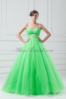 Net Sweetheart Neckline Floor Length A-line Embroidered Prom Dress