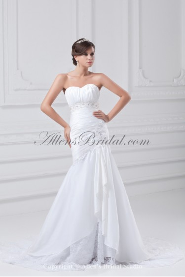 Taffeta Sweetheart Neckline Sweep Train Mermaid Embroidered Wedding Dress