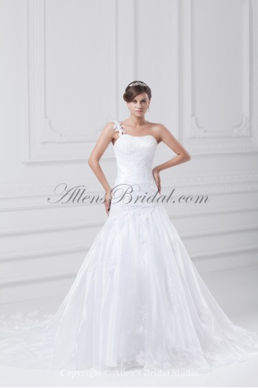 Taffeta One-Shoulder Neckline Sweep Train Ball Gown Embroidered Wedding Dress