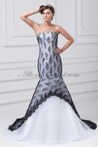 Satin and Lace Strapless Neckline Floor Length Mermaid Wedding Dress