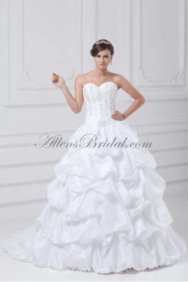 Taffeta Sweetheart Neckline Sweep Train Ball Gown Embroidered Wedding Dress