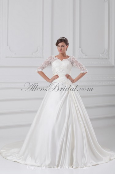 Satin V-Neck Sweep Train Ball Gown Wedding Dress with Jacket