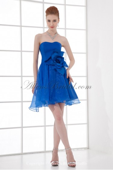 Satin and Organza Sweetheart Neckline A-Line Short Flower Cocktail Dress