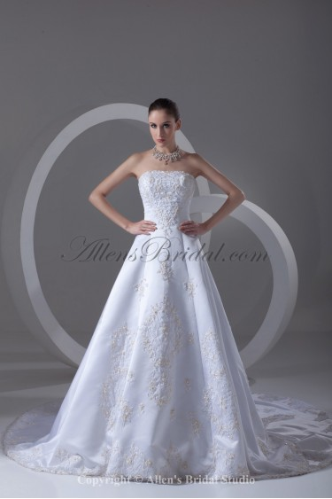 Satin Strapless Neckline Chapel Train A-line Embroidered Wedding Dress