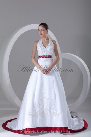 Satin Halter Neckline Chapel Train A-line Embroidered Wedding Dress