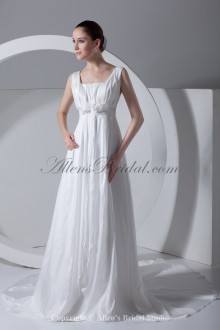 Taffeta Square Neckline Chapel Train Column Wedding Dress