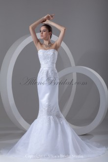 Organza and Satin Scoop Neckline Sweep Train Mermaid Embroidered Wedding Dress