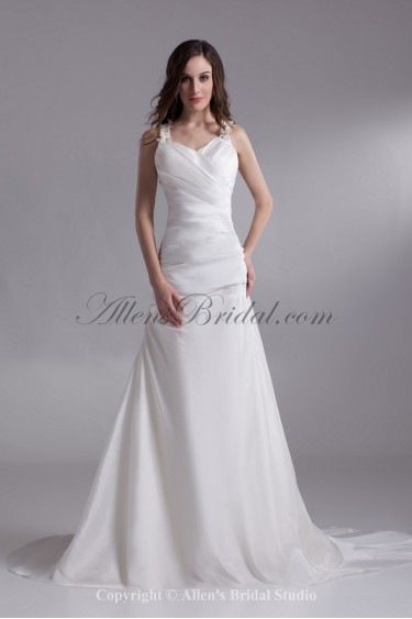 Satin Straps Neckline Chapel Train A-line Wedding Dress