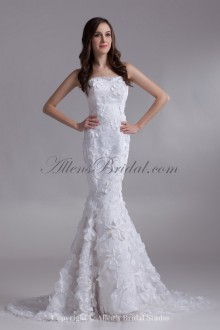 Satin and Lace Strapless Neckline Sweep Train Mermaid Embroidered Wedding Dress