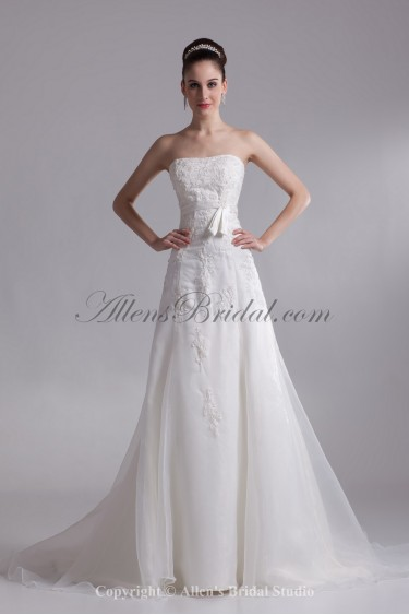 Organza Strapless Neckline Chapel Train A-line Embroidered Wedding Dress