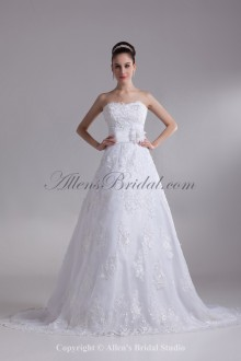 Lace Sweetheart Neckline Sweep Train A-line Embroidered Wedding Dress