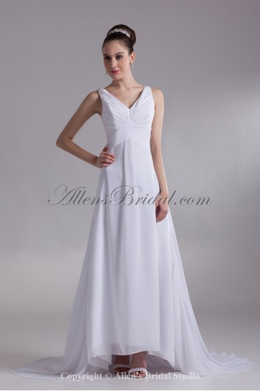 Chiffon V-Neck Neckline Sweep Train A-line Wedding Dress