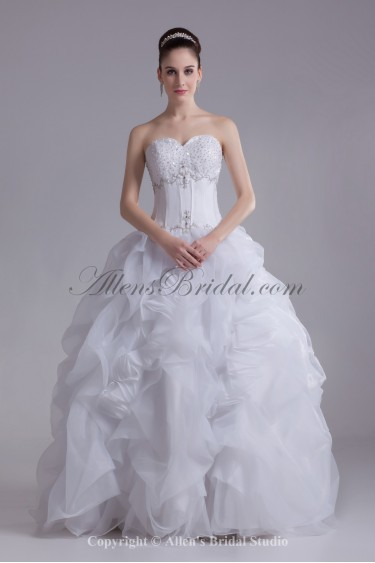 Organza Sweetheart Neckline Floor Length Ball Gown Embroidered Wedding Dress