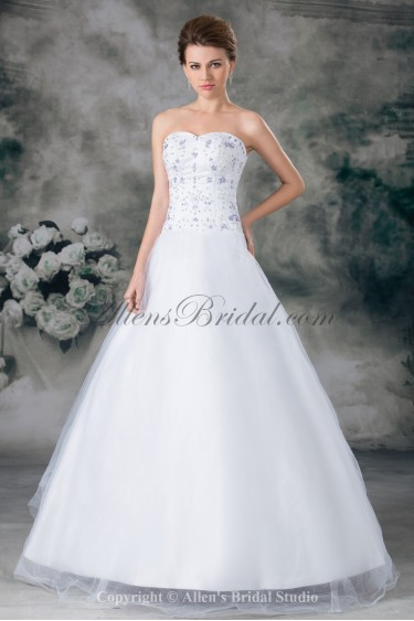 Organza Sweetheart Neckline Floor Length A-line Embroidered Wedding Dress