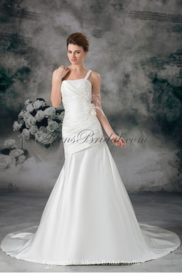 Satin One-shoulder Neckline Chapel Train Mermaid Feather Wedding Dress