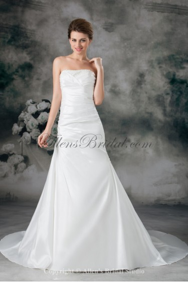 Taffeta Strapless Neckline Chapel Train A-line Embroidered Wedding Dress