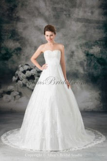 Lace Scoop Neckline Sweep Train A-line Wedding Dress